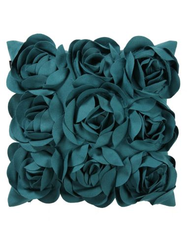 This bold accent cushion will add colour to your bed with its touchable soft fabric rosette detailing.