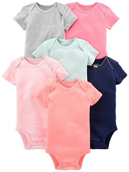 804c75772056 Amazon.com  Simple Joys by Carter s Baby Girls 6-Pack Short-Sleeve ...