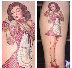 Pastry chef pin-up girl by David Corden.