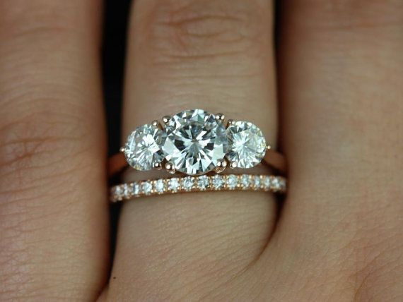 Tina & Rujira 14kt Rose Gold Round FB Moissanite and Diamonds 3 Stone Wedding Set (Other metals and stone options available)