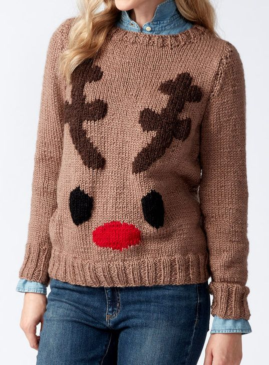 Free Knitting Pattern for Reindeer Sweater - Long-sleeved pullover with a reindeer face, antlers, and Rudolph red nose. Sizes from XS to 5XL.
