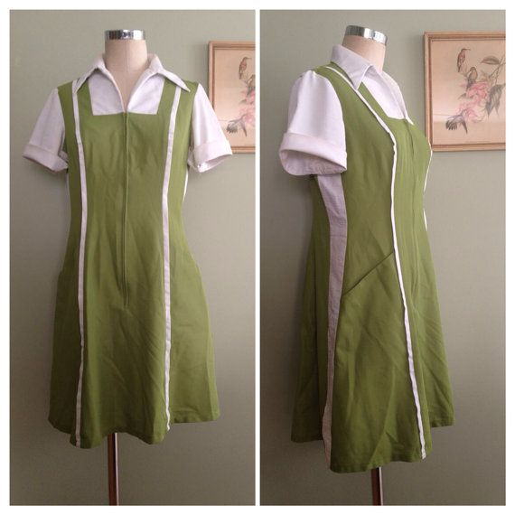 1970s Waitress Uniform Vintage 70s Green By