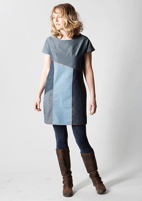 denim-dress4 Looks similar to Vogue V9022. I'm doing that in color block now. Nice to have ideas for a different bodice and slant pockets.