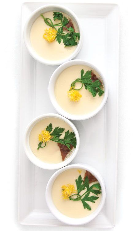 Chawanmushi (Japanese Egg Custard). It's savory with bits of chicken, shrimp, mushrooms, etc.