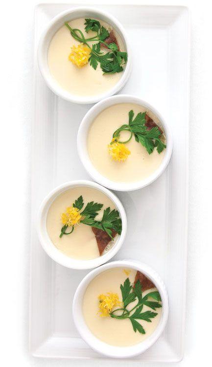 Chawanmushi (Japanese Egg Custard). It's savory with bits of chicken, shrimp, mushrooms, etc.