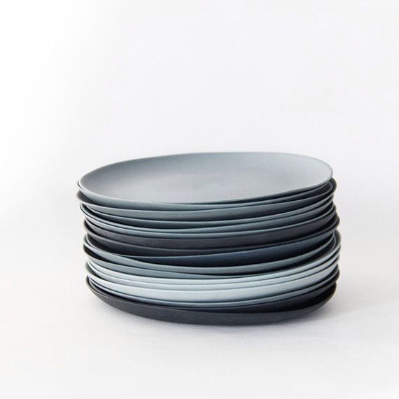 Gray and shades of blue plates