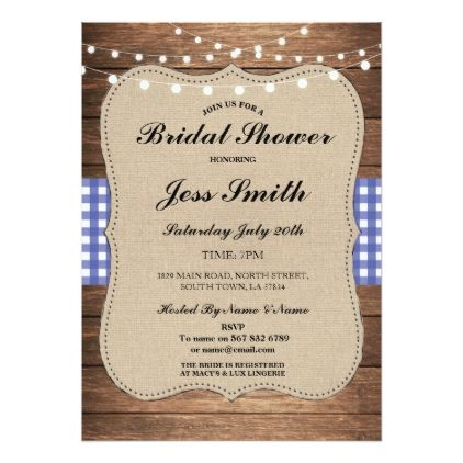 #Bridal Shower Party Rustic Burlap Blue Wood Invite - #saturday #saturdays