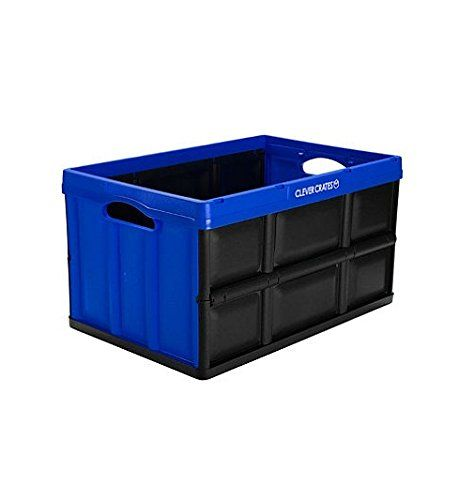 CleverMade CleverCrates 62 Liter Collapsible Storage Bin/Container: Solid Wall Utility Basket/Tote, Royal Blue, 3 Pack