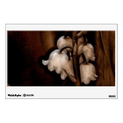 #floral - #Lily of the Valley Flower in Dark Brown Wall Sticker