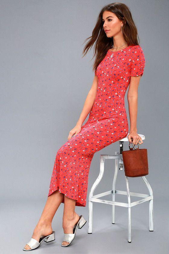 df862632643 Caroline Coral Red Floral Print Midi Dress