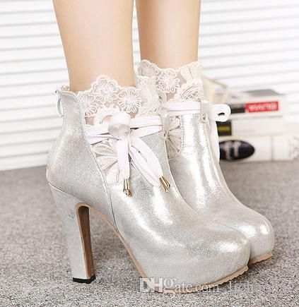 Romantic Silver White Lace Wedding Boots Bridal Shoes Dress Bow High Heel Ankle Platform Pumps