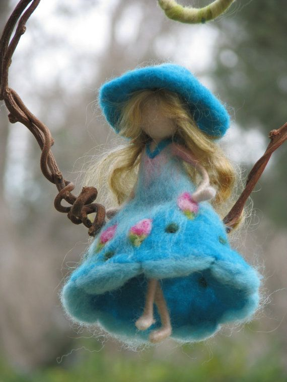 Needle felted Waldorf inspired Magic fairy Mobile ♡ by Made4uByMagic