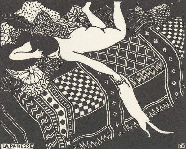 1896 Félix Vallotton (1865 – 1925, Luiheid (La paresse), houtsnede Aan het einde van de 19de eeuw ontstond in Frankrijk een opleving van de houtsnede. De Zwitsers-Franse kunstenaar Félix Vallotton geldt als de grootste vernieuwer van dit medium. Met zijn houtsneden in meesterlijk zwart-wit beleefde hij tussen 1896 en 1898 het hoogtepunt van zijn carrière.