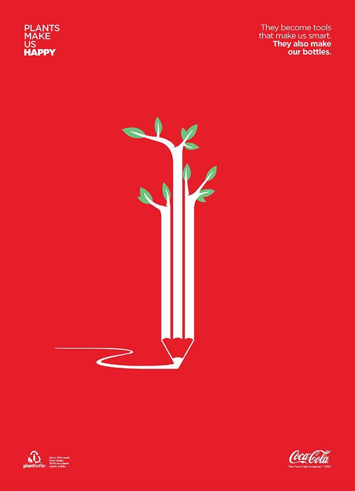 Coca Cola : Plants make us happy pub presse  coca cola coke plant bottle make us happy design print TBTC G Communication