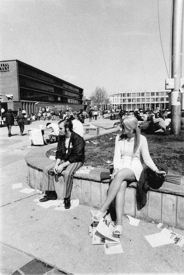 Wayne State's campus in 1971. Detroit