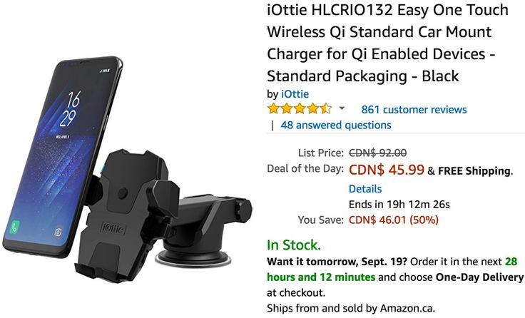 Amazon Canada Deals Of The Day: Save 50% on iOttie Easy One Touch Wireless Qi Standard Car Mount Charger & Phone... https://www.lavahotdeals.com/ca/cheap/amazon-canada-deals-day-save-50-iottie-easy/246851?utm_source=pinterest&utm_medium=rss&utm_campaign=at_lavahotdeals&utm_term=hottest_12