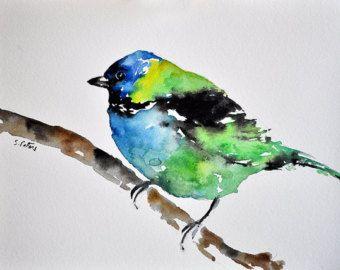 Aquarelle originale, oiseau aquarelle coloré, vert, bleu, noir, Illustration Art6x8 pouces