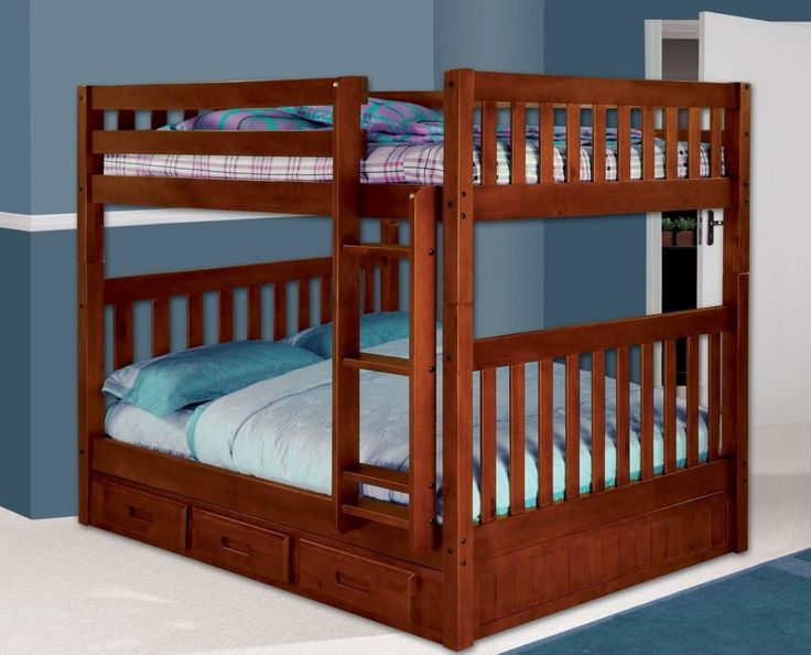 Get the most out of your space with our Bunk Beds in Full over Full with a fixed ladder plus three underbed storage drawers. Our bunk beds feature solid pinewood construction in an attractive merlot f