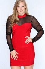 Red Black Mini Dress Plus Size