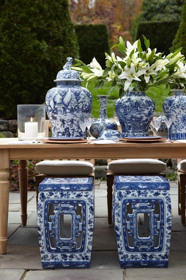 Blue and white Asian decor