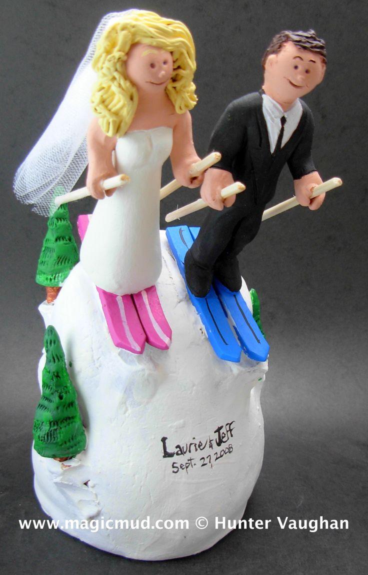 Wedding Cake Topper for Skiers http://www.magicmud.com   1 800 231 9814  magicmud@magicmud.com $235  https://twitter.com/caketoppers         https://www.facebook.com/PersonalizedWeddingCakeToppers   #wedding #cake #toppers #custom #personalized #Groom #bride #anniversary #birthday#weddingcaketoppers#cake-toppers#figurine#gift#wedding-cake-toppers #ski#skiing#snowBoard#snowboarding#downhillSki#skihill