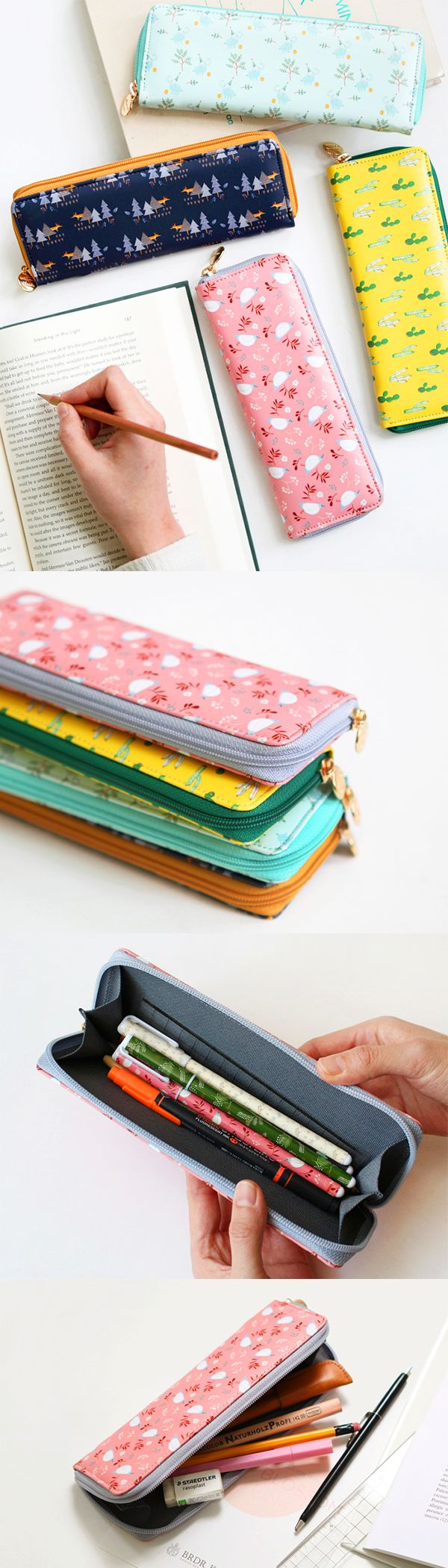 If you're anything like me, this Willows Classic Slim Pen Case is an absolute necessity! I need to carry my pens, pencils, & USB drive with me wherever I go, but I don't want them rolling around the bottom of my bag. This lovely pen case holds them all, but is ultra slim & light so I don't feel the added weight at all! The inner flaps allow me to open it super wide so I can see everything at a glance & I love the gold zipper tag detail. It's so chic & cute - I'm tempted to collect all 4…