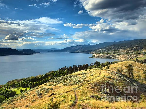 View of Okanagan Lake from the KVR Trail, Penticton BC Canada