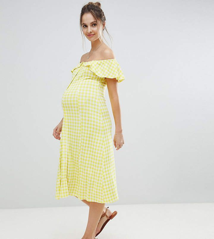 7a22d838f17 ASOS Maternity ASOS MATERNITY Off Shoulder Button Through Midi Sundress in  Gingham. Yellow maternity summer dress.