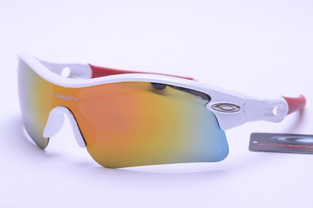oakley radar sunglasses  Oakley Radar Sunglasses Red White Frame Colorful Lens 0967 ...
