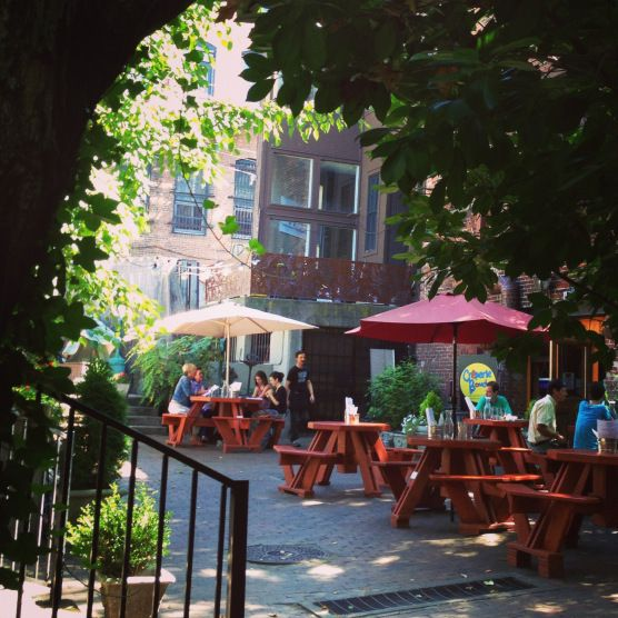 Patio wedding... Beautiful and delicious Bouchon, Asheville.