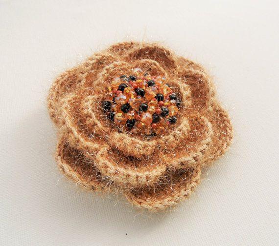 Crochet Brooch  Beige Rose Brooch  Corsage от CraftsbySigita