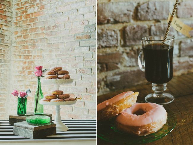 A coffee and donut bar bridal shower on Showerbelle.com