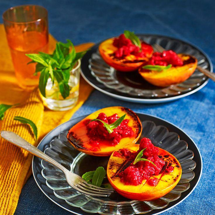 Grilled mango with raspberry granita | Healthy Recipe | Weight Watchers AU