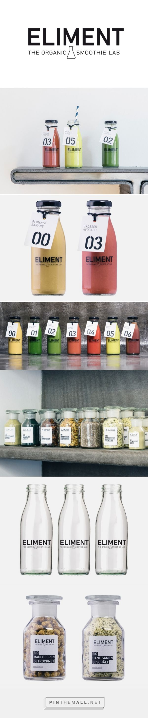 Martin Dvorak, Agentur für Gestaltung Eliment Organic Smoothie Lab curated by Packaging Diva PD. Created your own smoothie in basic packaging by numbers.
