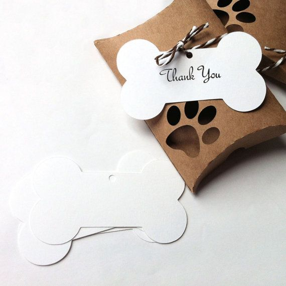 Dog Bone gift tags & shapes. White bone shapes for pet shop or dog food treat packaging by MyPaperPlanet
