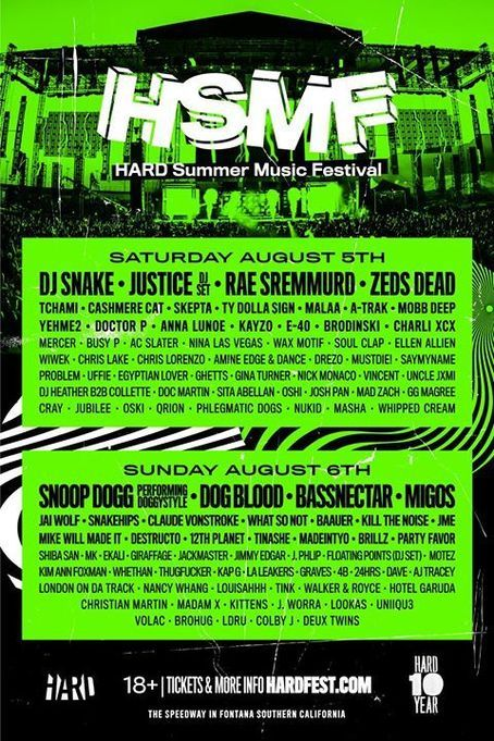 HARD Summer Music Festival 2017 line-up, tickets and dates. Find out who is playing live at HARD Summer Music Festival 2017 in Fontana in Aug 2017.