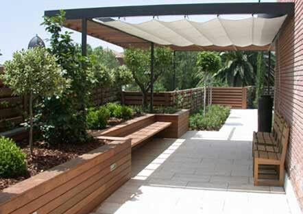 Dise o de terrazas interiores y exteriores con habitalia for Cobertizo para exteriores