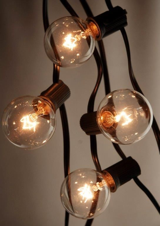 25 Outdoor Patio String Light Set G40 Clear Globe Bulbs 28 FT Black Cord  E12 C7 Base, End To End
