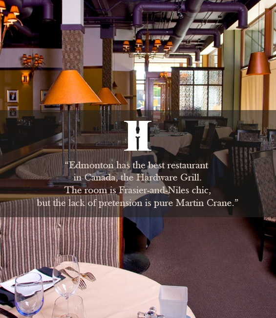 Hardware Grill  Fine dining. The Red Wine Cellar can be booked by calling (780) 423-0969 for 8-16 guests.