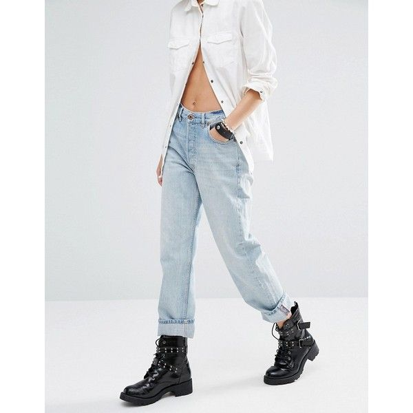 Diesel Rosket High Waist Relaxed Boyfriend Jeans (€100) ❤ liked on Polyvore featuring jeans, blue, high waisted boyfriend jeans, tall jeans, boyfriend jeans, high waisted blue jeans and high-waisted jeans