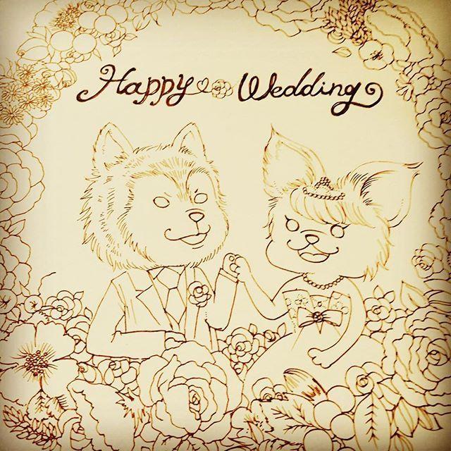 ボツにしちゃったウェルカムボード。友人の愛犬たちをモチーフにしました。  #illust #ilustration #illustgram #dogillustration #わんこ #愛犬 #welcomebord #wedding