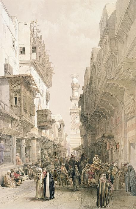 """Mosque El Mooristan, Cairo, from """"Egypt and Nubia"""", Vol.3 (litho) by Roberts, David (1796-1864)"""