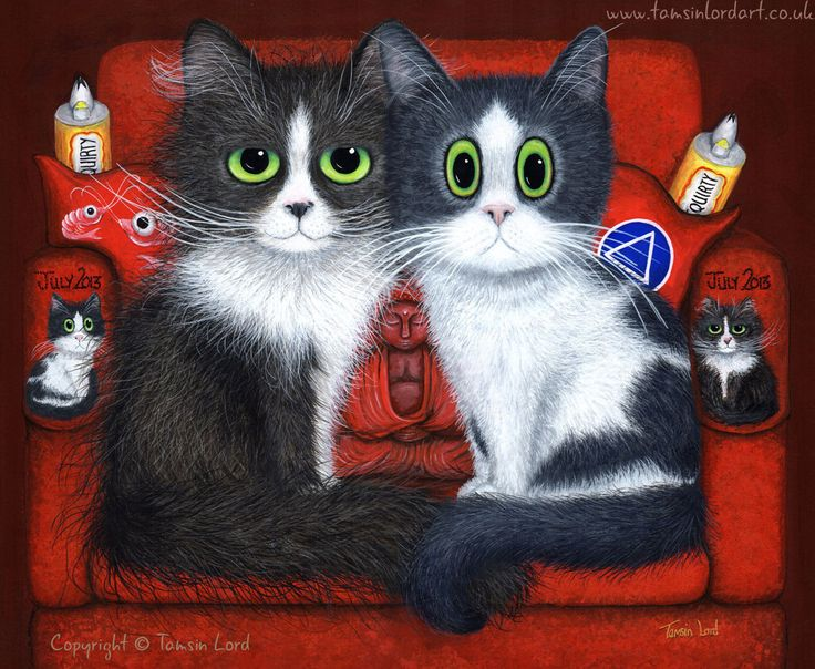 'Darla and Delia's Catnap Hotspot' A commissioned painting by Tamsin Lord