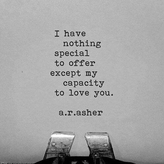I have nothing special to offer except my capacity to love you. r.a.asher