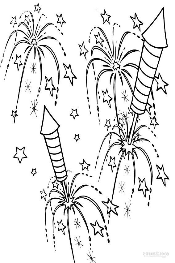 Firework Coloring Pages Neujahr Silvester Malvorlagen