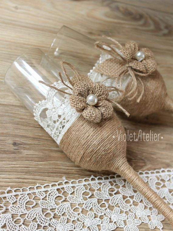 Rustic Lace Burlap Toasting Flutes, Champagne Burlap Flower Wedding Glasses Set…