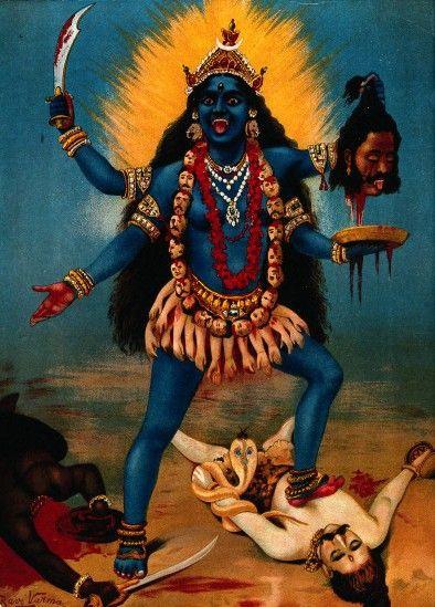 Kali (Hindu) conveys death, destruction, and the consuming aspects of reality. Consort of Lord Shiva - art by Raja Ravi Varma