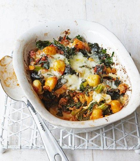 Sausage-and-kale-gnocchi-bake (use a couple of Linda McCartney sausages, omit the mozzarella, it adds nothing! A bit of any other cheese would be good though)