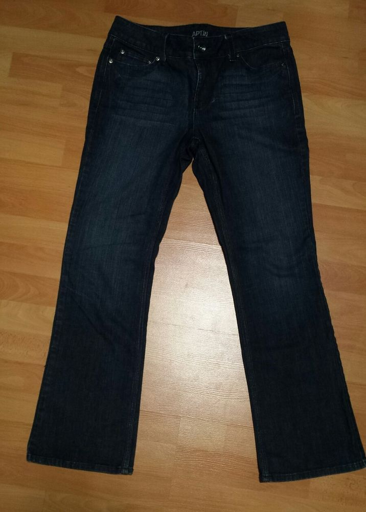 APT 9 Womens Bootcut Jeans Dark Med Wash Maxwell Fit Size 10 Mid Rise 5 pocket #Apt9 #BootCut