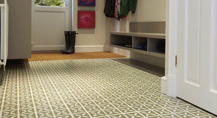 Green Victorian Style Vinyl Tiles In A Hallway Kitchen